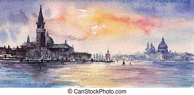Venice,Italy at sunsetPicture created with watercolors