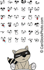 raccoon baby cute sitting cartoon set in vector format