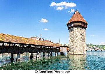 Famous wooden Chapel Bridge in Luzern