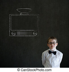 Thinking boy business man with chalk tv television -...