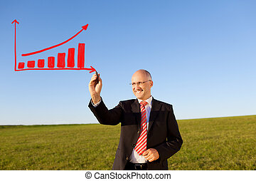 Businessman Drawing Bar Graph On Field Against Sky - Happy...