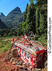Traditional Chinese funeral in the mountains - Traditional...