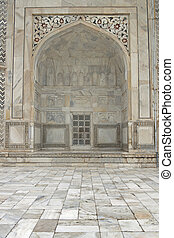 Detail of the Taj Mahal - Inlaid white marble alcove Taj...