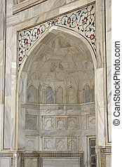 Detail of the Taj Mahal - Inlaid white marble alcove. Taj...