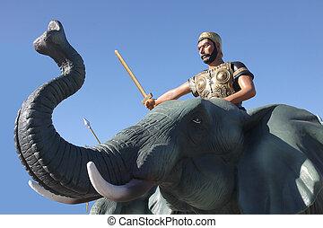 Hannibal, Montando, elefante