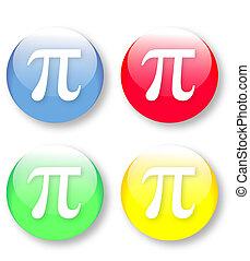 Mathematics PI vector icons set - Mathematics PI vector...