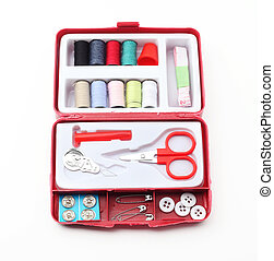 Sewing tools box over white background