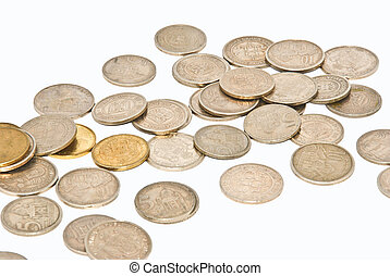 money - a close up of a money spread over white