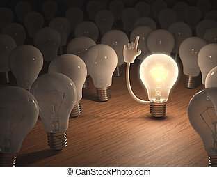 I have an idea - Incandescent bulb with an idea Concept of...