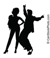 greaser couple - fifties grease couple in silhouette