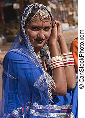 Lady in Blue Sari - Portrait of a Female Indian dancer in...