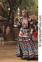 Dancing Queen - Female kalbelia dancer in traditional tribal...