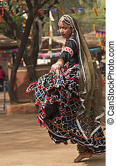 Rajasthani Gypsy Dancer - Tribal dancer in action at the...