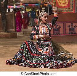 Indian Kalbelia Dancer - Beautiful Kalbelia dancer in ornate...