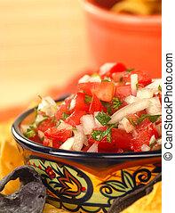 Delicious fresh pico de gallo salsa and chips - Fresh pico...