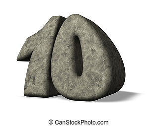 number ten - stone number ten - 3d illustration