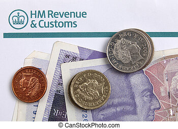 UK tax paper and cash - A paper with the heading of...