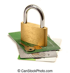 Credit card security - A pile of credit cards with a padlock...