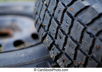 Studded Tire - Studded tire with rusty studd