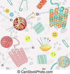 Retro seamless pattern with knitting accessories - Retro...