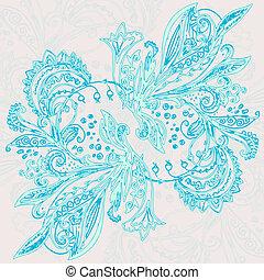 Vintage ethnic vector ornament background - Vintage blue...