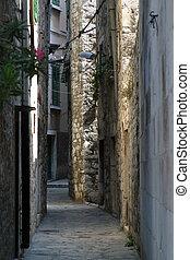 Narrow and old street in Sibenik, Croatia