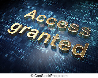 Security concept: Golden Access Granted on digital background
