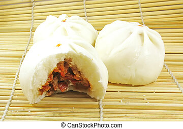 Meat Bun - Chinese Meat Bun Dumpling on Bamboo Mat