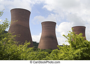 Power station - The three cooling towers of the coal-fired...