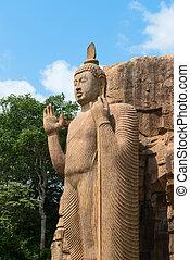 Avukana standing Buddha statue, Sri Lanka 40 feet 12 m high,...