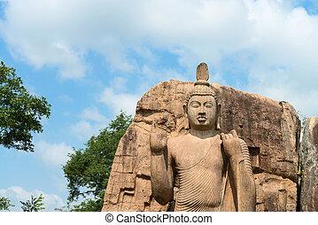 Avukana standing Buddha statue, Sri Lanka - Avukana standing...