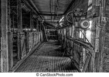 agriculture - black and white indoor shearing shed