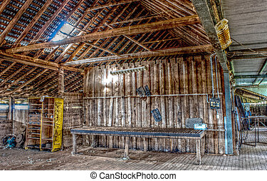 agriculture - A HDR of the inside of a shearing shed...