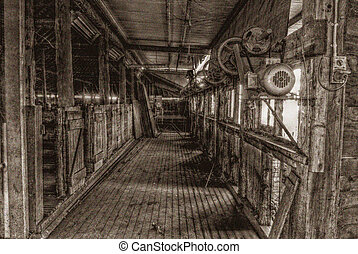 agriculture - the inside of an old style shearing shed