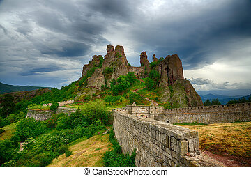 Belogradchik rocks Fortress bulwark, BulgariaHDR image