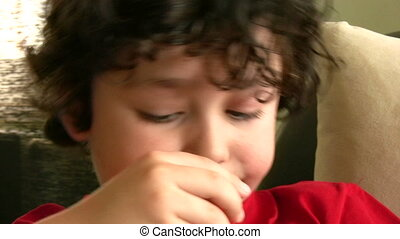 Obesite and Unhealthy Eating - Little boy eating candy