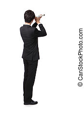 Businessman with telescope looking forward - Businessman...