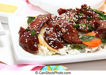 Japanese Teriyaki Beef - Soy glaze, onion, cabbage, carrot,...