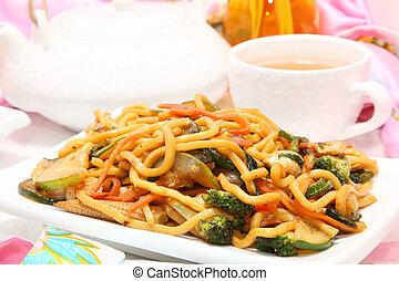 Mongolian Stir Fry - Mongolian stir fry with lo main,...