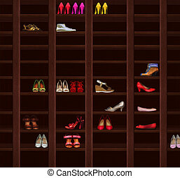 Wardrobe. Brown Wood Shelves with Women's Shoes. Fashion...