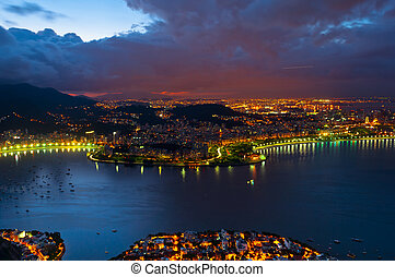 Rio de Janeiro in the Evening - Night view of the city from...