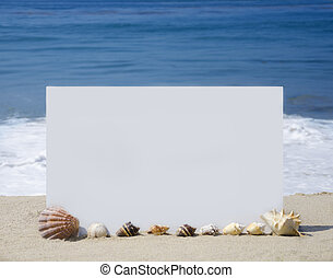 White board on sandy beach