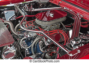 Customized V8 engine compartment - Highly customized 1966 V8...