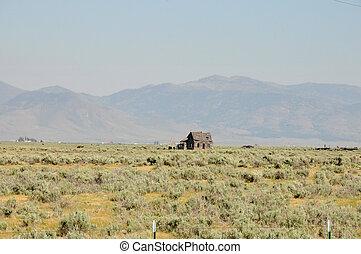 abandoned cabin in desert - nevada desert