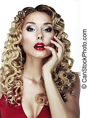 Glance. Frizzle. Sexy Bright Blonde with Curly Hair. Red Sensual Lips