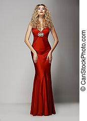 sofisticazione, seducente, donna, rosso, moda, vestire,...