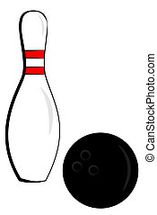 Bowling pin and ball - A bowling pin and ball