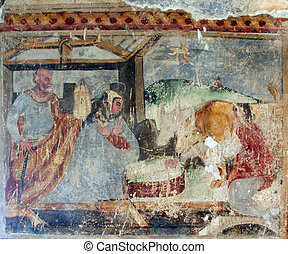 Nativity Scene, Fresco paintings in the old church