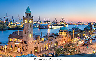 Landungsbruecken in Hamburg - Landungsbruecken and the...