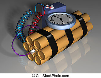 Time bomb primed for action - Illustration of a time bomb...